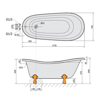 RETRO freistehende Badewanne 175x76x72cm, Füße weiß