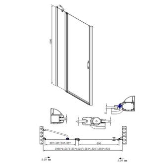 ONE Duschtür für Nische 1200 mm, Klarglas