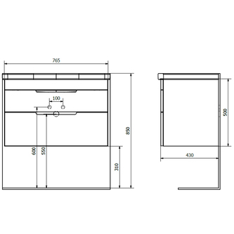 ELLA Unterschrank 76,5x50x43cm, weiß