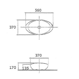 BEVERLY Keramik-Waschtisch 56x37x17 cm, zum Aufsetzen, ohne Überlauf