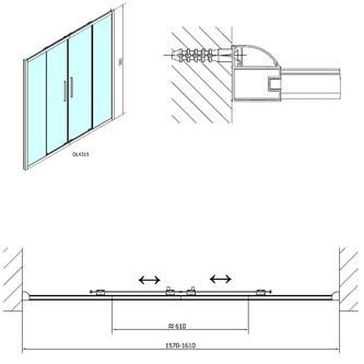 LUCIS LINE Duschtür 1600mm, Klarglas