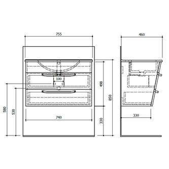 KALI Unterschrank 74x50x45cm, weiß