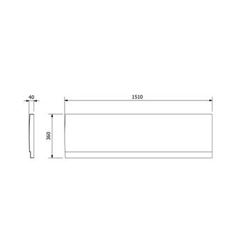 DEEP PLAIN Frontschürze rechts, 150x36cm, weiß