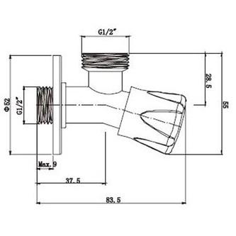 Eck-Waschmaschinenventil mit Rückschlagventil 3/4'x 1/2', Chrom