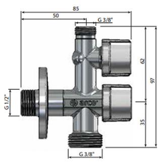 """Waschmaschinenventil 1/2""""x3/4""""x3/8"""", mit Antikalk-System, chrom"""