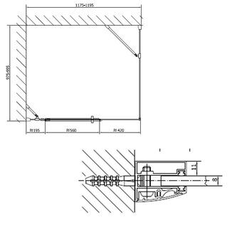 VITRA LINE Duschabtrennung Rechteck, Ecke abgerundet 1200x800mm,rechts, Klarglas
