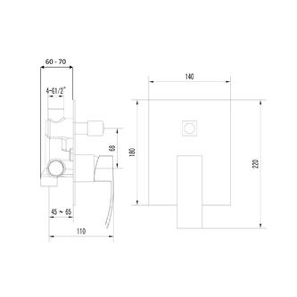 GINKO Unterputz-Duscharmatur , 2 Wege, schwarz matt