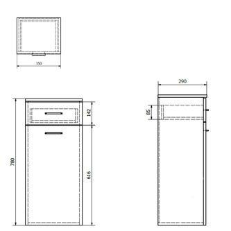 ZOJA/KERAMIA FRESH Unterschrank mit Wäschekorb 35x78x29cm, weiß
