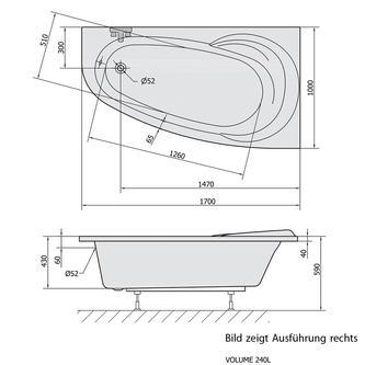 Raumspar Badewanne NAOS 170x100x43cm rechts, weiß