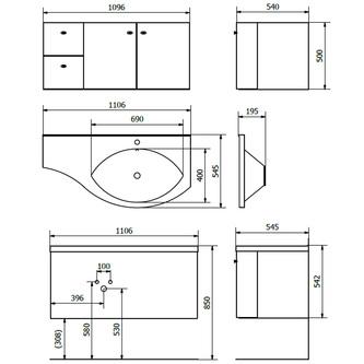 AILA Unterschrank 110x39cm, rot/schwarz, Schubladen links