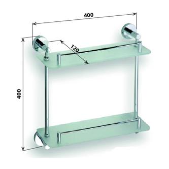 X-ROUND E Glasablage 2-Fach 400mm, Chrom