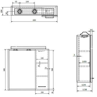 ZOJA Spiegelschrank mit LED Beleuchtung, 60x60x14cm, rechts, mali wenge