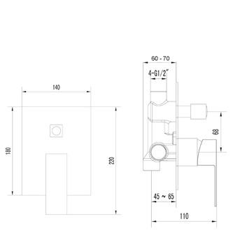 LATUS Unterputz-Duscharmatur, 2 Wege, Chrom