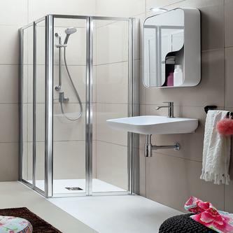 Rechteck-Duschkabine HELP mit Falttüren, Größe nach Wahl, Acryl-oder Klarglas