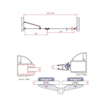 LEGRO Duschtür für Nische 1000mm, Klarglas