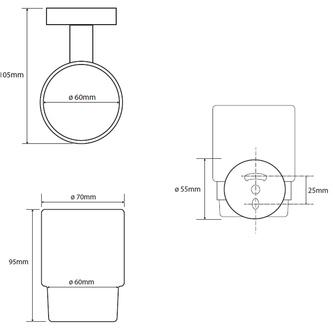 X-ROUND Glas, Chrom (104110012)