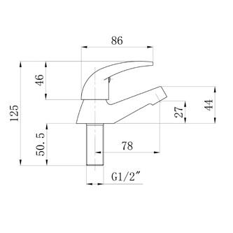 Waschtischventil, 1/2´´, 79,5 mm, Chrom