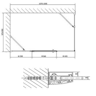 VITRA LINE Duschabtrennung Rechteck 1600x1000mm, rechts, Klarglas