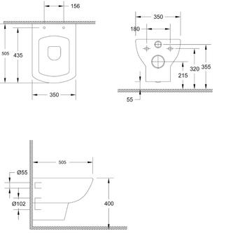 SOLUZIONE Hänge-WC, 35x50,5cm, weiß