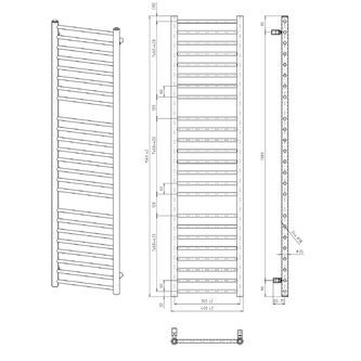DINA Badheizkörper 400x1560mm, anthrazit metall
