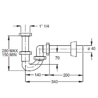 Waschtisch-Siphon selbstreinigend 1'1/4, Abfluss 40mm, weiß