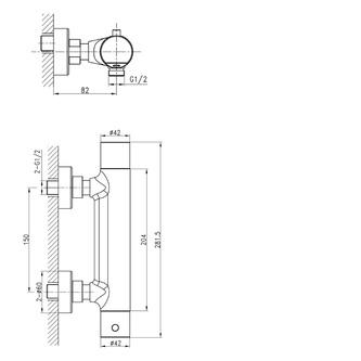 KIMURA Thermostat-Duscharmatur, Chrom