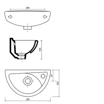 OVAL Keramik-Waschtisch 23x39cm