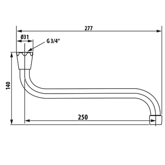 Wasserauslauf, 25cm, S-Form, Chrom