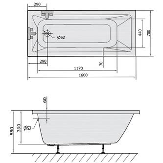 NOEMI Rechteckwanne mit Füßen 160x70x39cm, weiß