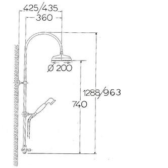 ANTEA Duschsäule mit Armaturanschluss (ohne Armatur), Kopf- und Handbrause, Nickel poliert