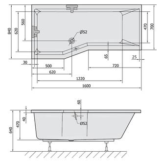 VERSYS L asymmetrische Badewanne 160x84x70x47cm, links, weiß