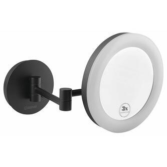Hänge-Kosmetikspiegel mit LED Beleuchtung, schwarz matt
