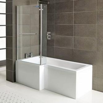 SYNA Badewanne mit Duschzone 150x85/70x40 cm, links, weiß, Komplett-Set