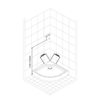 AIGO Viertelkreis-Duschbox 900x900x2060mm, Profil weiß, Glas BRICK