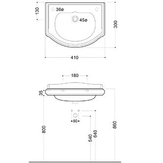 RETRO Keramik-Waschtisch 41x32cm, Armaturloch links, ohne Überlauf