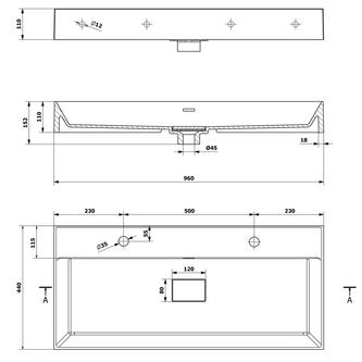 GODIVA Gussmarmor-Waschtisch, 2x Armaturloch, 96x44cm, weiß