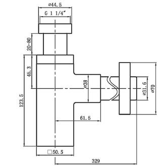 Waschtisch-Siphon 5/4', Durchmesser 32mm, eckig, Chrom