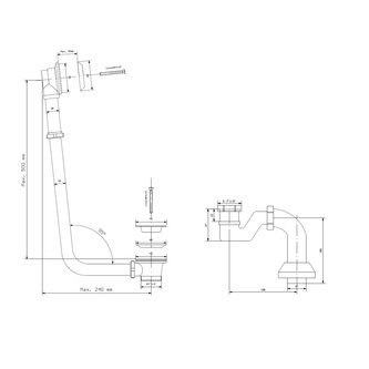 MODEL 12V Ablaufgarnitur mit Kette, inkl. Siphon, Bronze