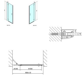 VITRA LINE Duschtür 800mm, links, ovale Scharniere, Klarglas