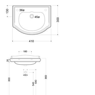 RETRO Keramik-Waschtisch 41x32cm, ohne Armaturloch, ohne Überlauf