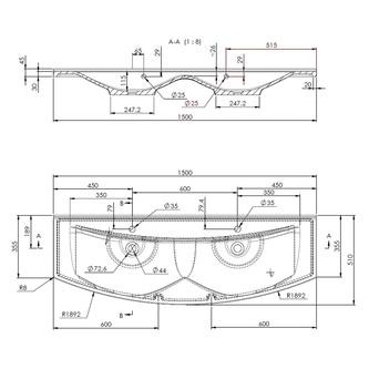 ARAS Gussmarmor-Doppelwaschtisch 150x51cm, weiß