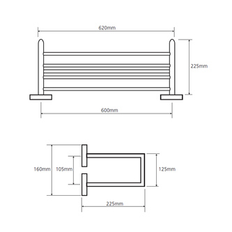X-SQUARE Handtuchregal 2-Fach, mit Reling 650x155x255mm, Chrom