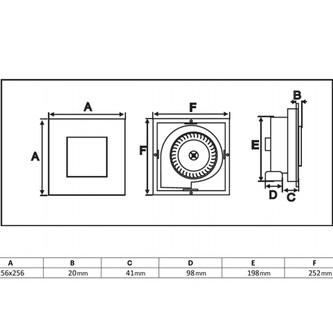TECTOAxial-Badlüfter mit Zeitschaltuhr, 20W, Rohrleitung 100mm, weiß