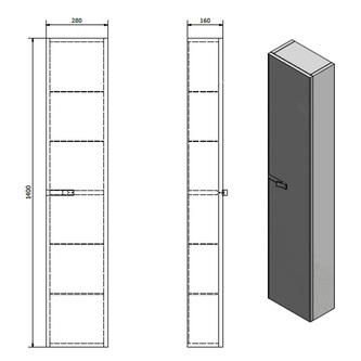 MITRA Hochschrank 28x140x16cm, Anthrazit, links/rechts
