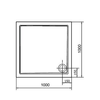 AURA Gussmarmor-Duschwanne, Quadrat 100x100x4cm,