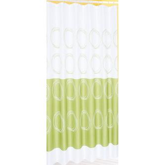 Duschvorhang 180x180cm, 100% Polyester, weiß/grün
