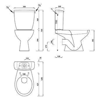 JUAN Kombi-WC mit Spülkasten und Spülgarnitur, Abgang waagerecht