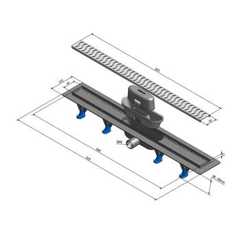 SCENE Kunststoff-Duschrinne mit Edelstahl-Rost, L-920 mm