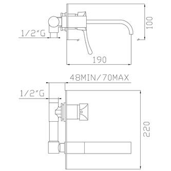 CHIC Unterputz-Waschtischarmatur , bronze