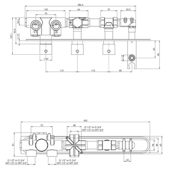 Unterputz-Armatur mit Brausehalter, 2 Wege, eckig, Chrom